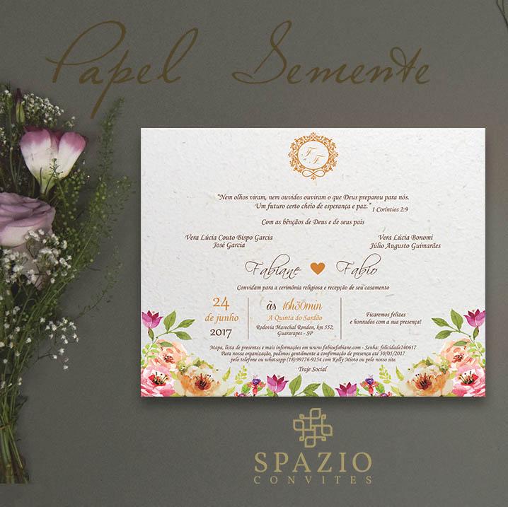 Papel Semente Para Convites De Casamento Spazio Convites
